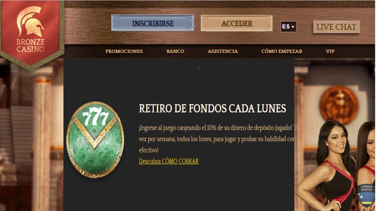 Lunes 10% de reintegro Bronze Casino