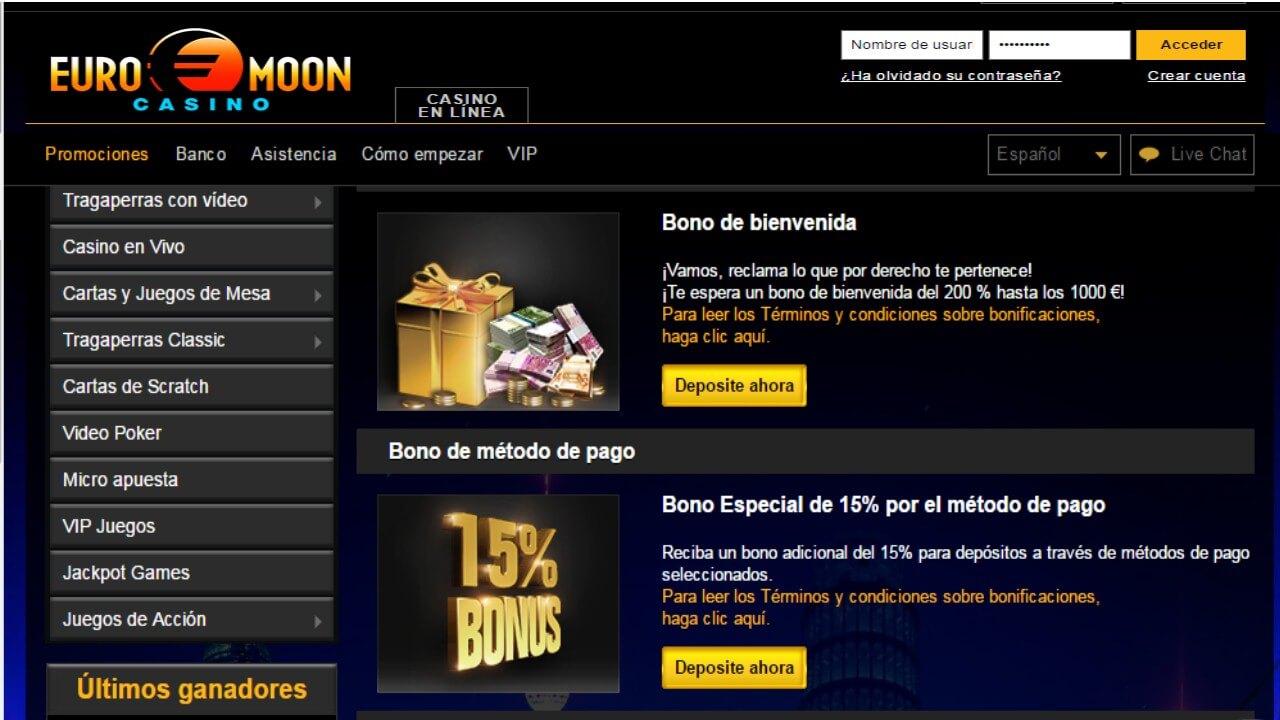 Casino Euromoon bono método de ingreso 15%