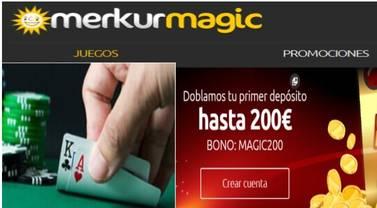 Fantástico bono de hasta 200 euros en Merkurmagic por primer depósito
