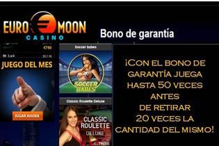 50 tiradas y 20 veces el valor del bono en Casino Euromoon