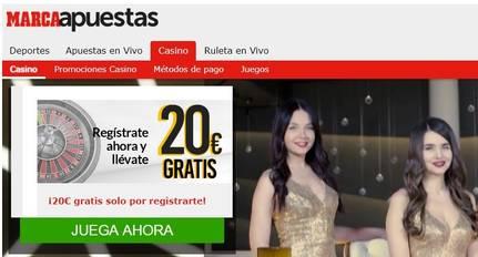 Bono por registro de 20 euros Casino Marca Apuestas